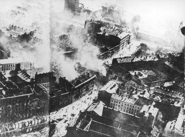 An aerial view of Warsaw after the siege, 1939