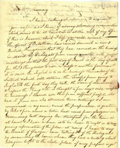 Letter Junkin to Major Murray 26th February 1820
