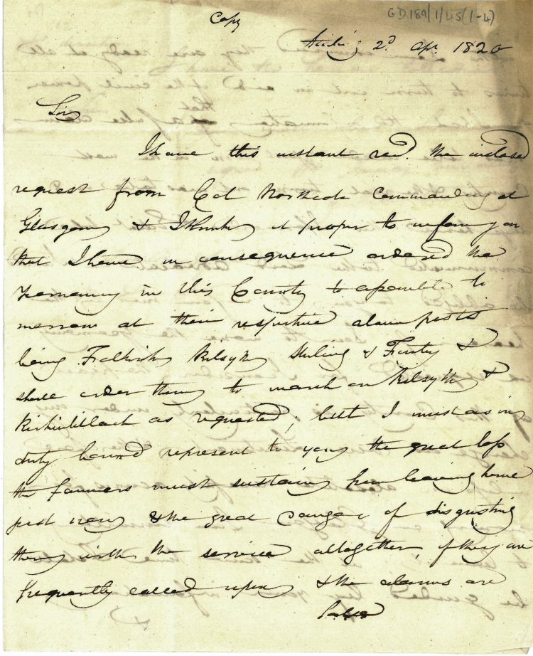 Letter William Murray to Thomas Bradford 2nd April 1820