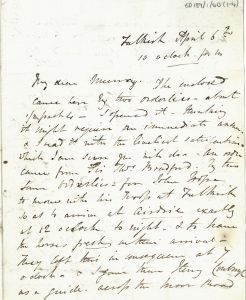 Letter M.S. Nicholson to Major Murray 6th April 1820