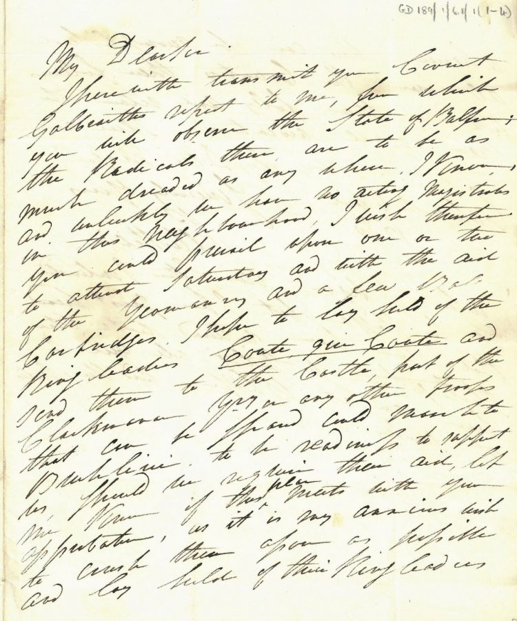 Letter Captain Peter Speirs to William Murray, 6th April 1820