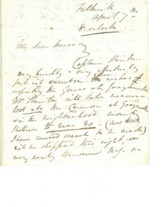 Letters M.S. Nicholson to Major William Murray, 7th April 1820