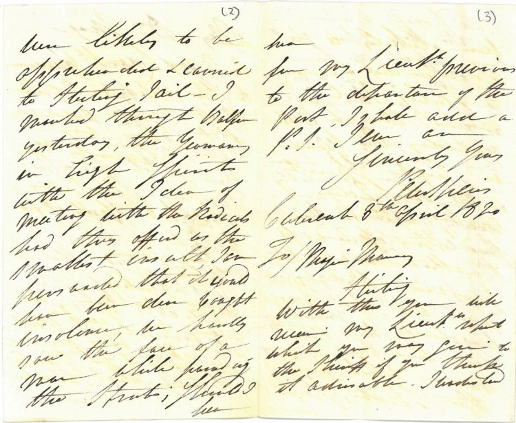 Letter, Captain Peter Speirs to Major Murray 8th & 9th April 1820