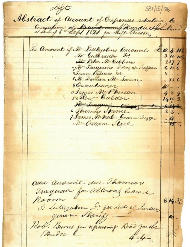 Account of expenses associated with the execution 8th September 1820