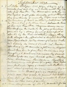 Dr Thomas Lucas diary entry 8th September 1820