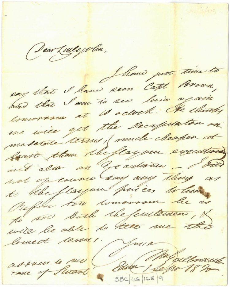 Galbraith to Littlejohn 1st September 1820