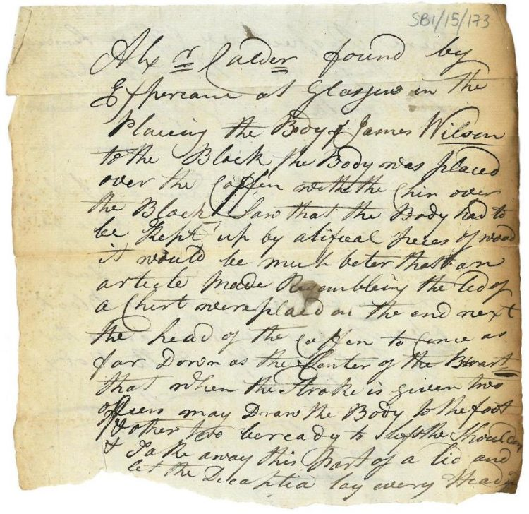 Memorandum re decapitation 31st August 1820