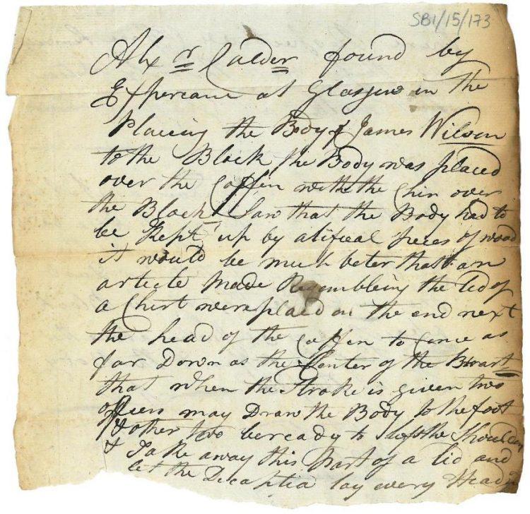 Memorandum re decapitation 31st August 1820