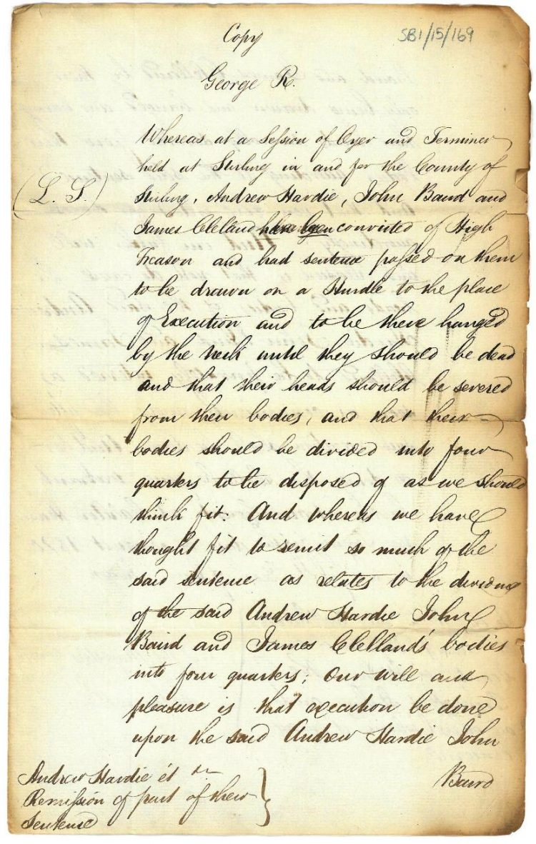 Revised death warrant of 25th August-1820