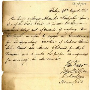 Warrant for an executioner 30th August 1820