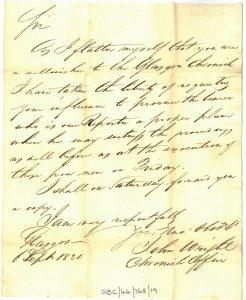 Wright to Galbraith 6th September 1820