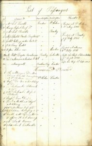 List of passengers for both legs of the voyage