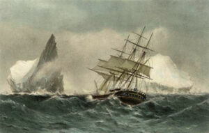 A merchant ship similar to the Lady Melville, painted to illustrate the poem 'The Wreck of the Hesperus by Longfellow written in 1840