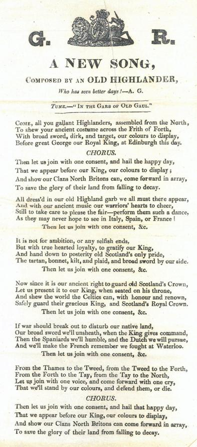 Song written for the Royal visit, 1822