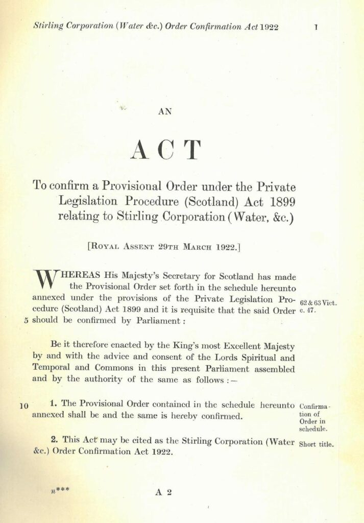 Stirling Waterworks Order 1922