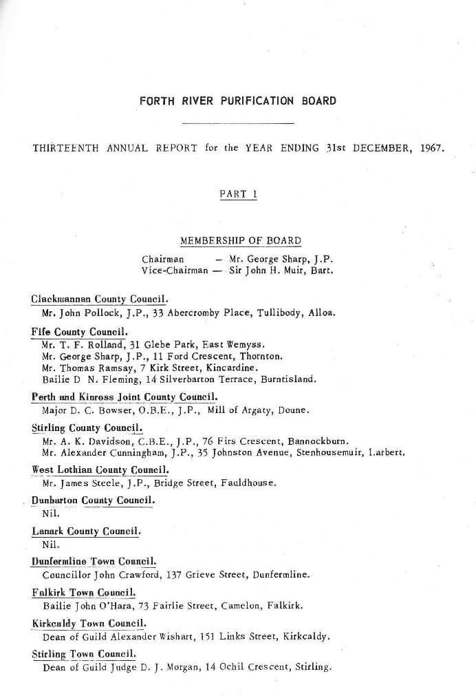 River Forth Purification Board Annual Report 1967