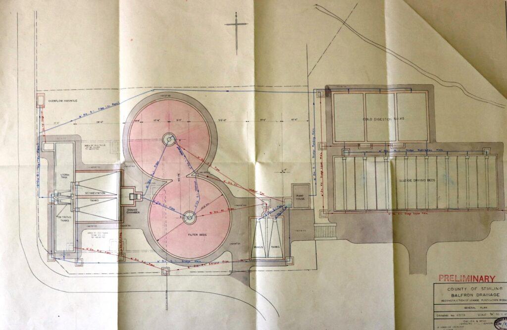 Balfron Sewage Works tanks etc c.1955
